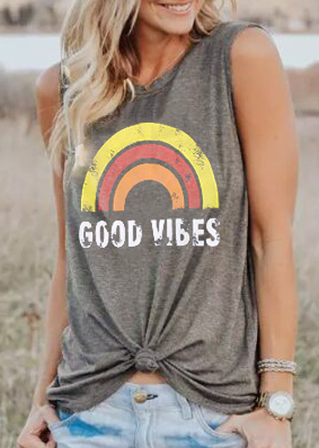 Plus Size Summer Tank Tops Women Good Vibes Print Gray O-Neck Tank Female Casual Loose Vest 2018 Sleeveless Ladies Tops Tee 3XL 1