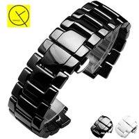 Ceramic Watchband Steel For Armani AR1425 AR1426 Man Bracelet 22 11mm Man 19 9mm Woman AR1422