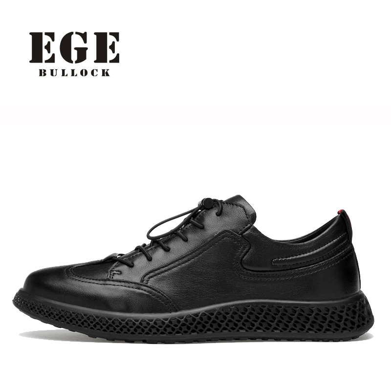 Men Casual Shoes Big Size Red Sole Genuine Leather Sneakers Soft Classic Leisure Lace-up Shoes EGE Brand New Breathable Shoe Men