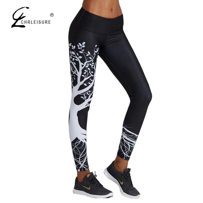 CHRLEISURE Autumn Women Printed Leggings Pants High Waist Fitness Legging Femme Workout Leggings Trousers Women S-XL 2 Colors
