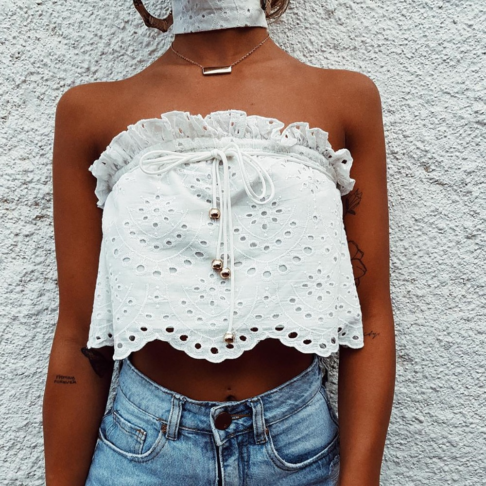 2018 women top summer white crop tops women strapless tank top sexy sleeveless ruffles tank top club tank blusas mujer de moda