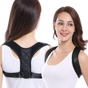 Corrector de postura de la clavícula de la columna de espalda Lumbar apoyo  cinturón ajustable postura corrección impide Slouching 4459ecf95354