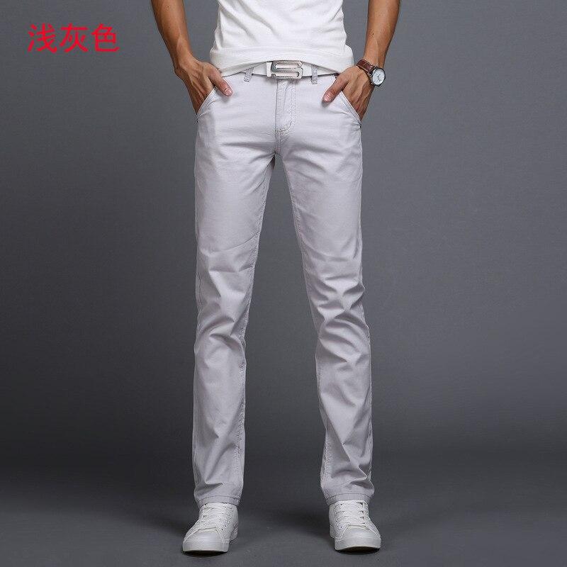 TANGYAXUAN New Design Casual Men pants Cotton Slim Pant Straight Trousers Fashion Business Solid Khaki Black Pants Men 28-38