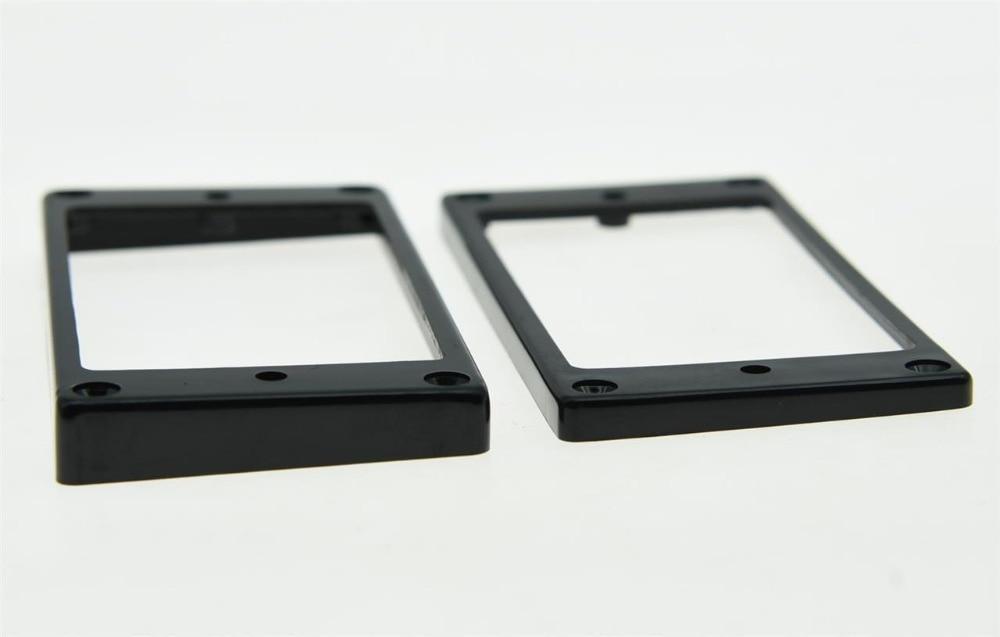 KAISH 2x Black Humbucker Pickup Ring Flat Base Bottom Frame Fits For  LP Guitar