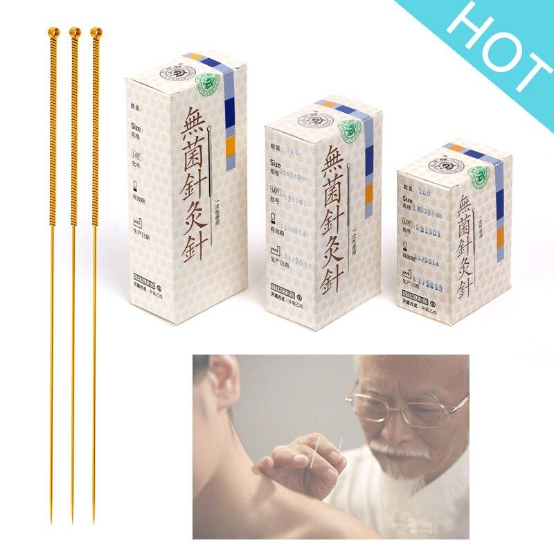100 pièces/boîte nuage Dragon or aiguilles d'acupuncture stérilisation emballage individuel (aiguilles peintes en or)