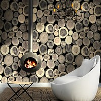 Free Shipping Characteristics Original Ecological Imitation Wood Bar Restaurant Tree Wallpaper Studio Pile Wallpaper