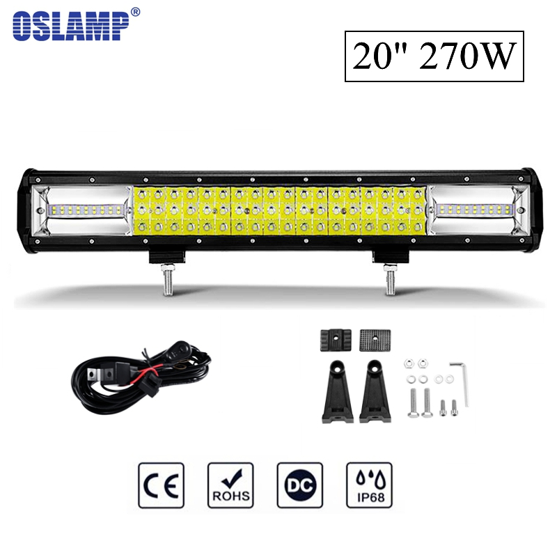 Oslamp 20 270W 6000K CREE Chips Combo Beam LED Work Light Bar Offroad Driving Lamp for Jeep Truck SUV ATV 4x4 4WD 12v 24v 52 inch 500w cree 4d led light bar 4x4 led work light offroad led bar combo beam driving lamp for jeep wrangler jk 2007 2015