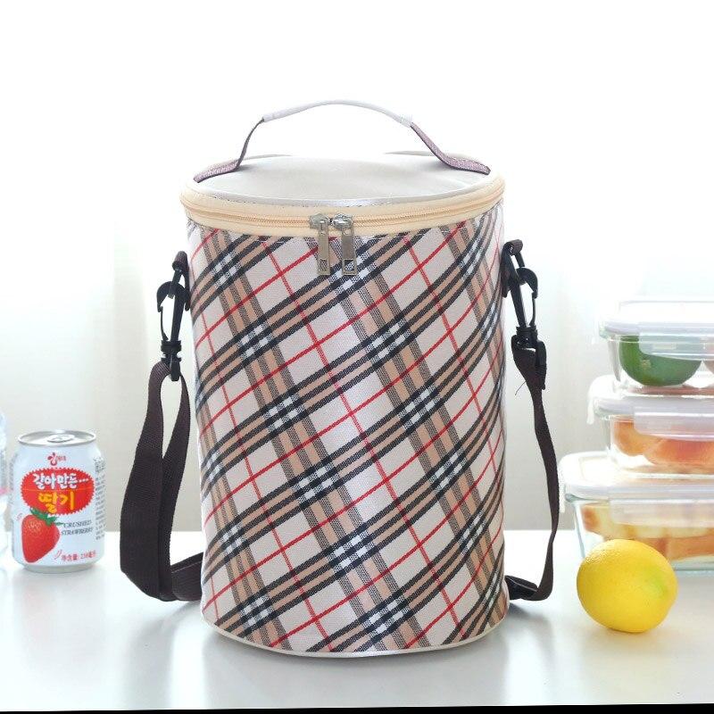 Круглые коробки сумка для ланча Водонепроницаемая Термосумка ремень для барабана portableLarge - Цвет: Розовый