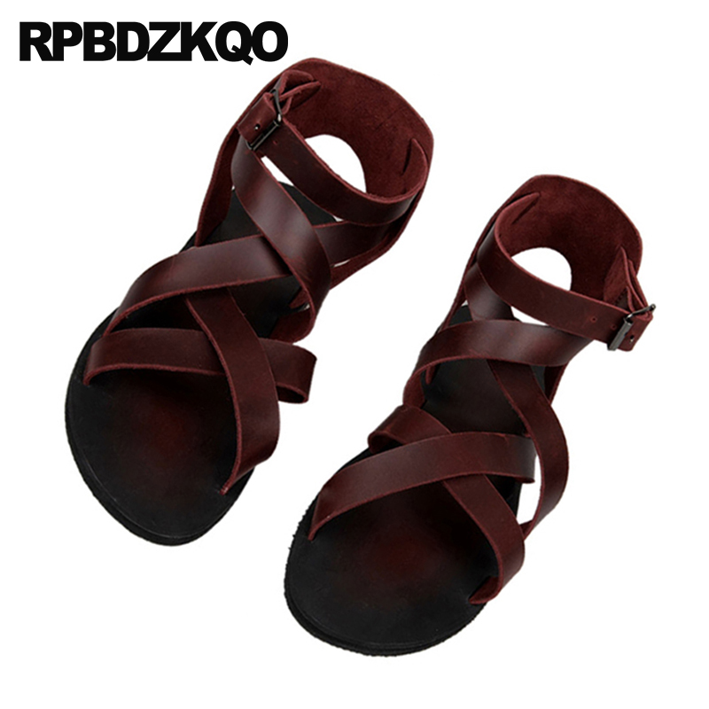 Leather Men Gladiator Sandals Summer Boots Burgundy Italian Strap Beach Breathable Flat Black Roman 2018 Shoes Open Toe Runway