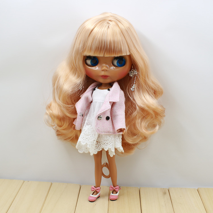 Neo Blythe Doll White Dress Suit Pink Coat 2