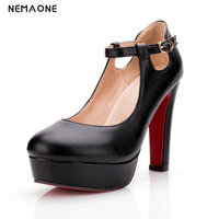 2019 New Bling Thin High Heel Buckle Woman Pumps Fashion Platform Party High Heel Shoes Ladies Black White Pink Sky Blue