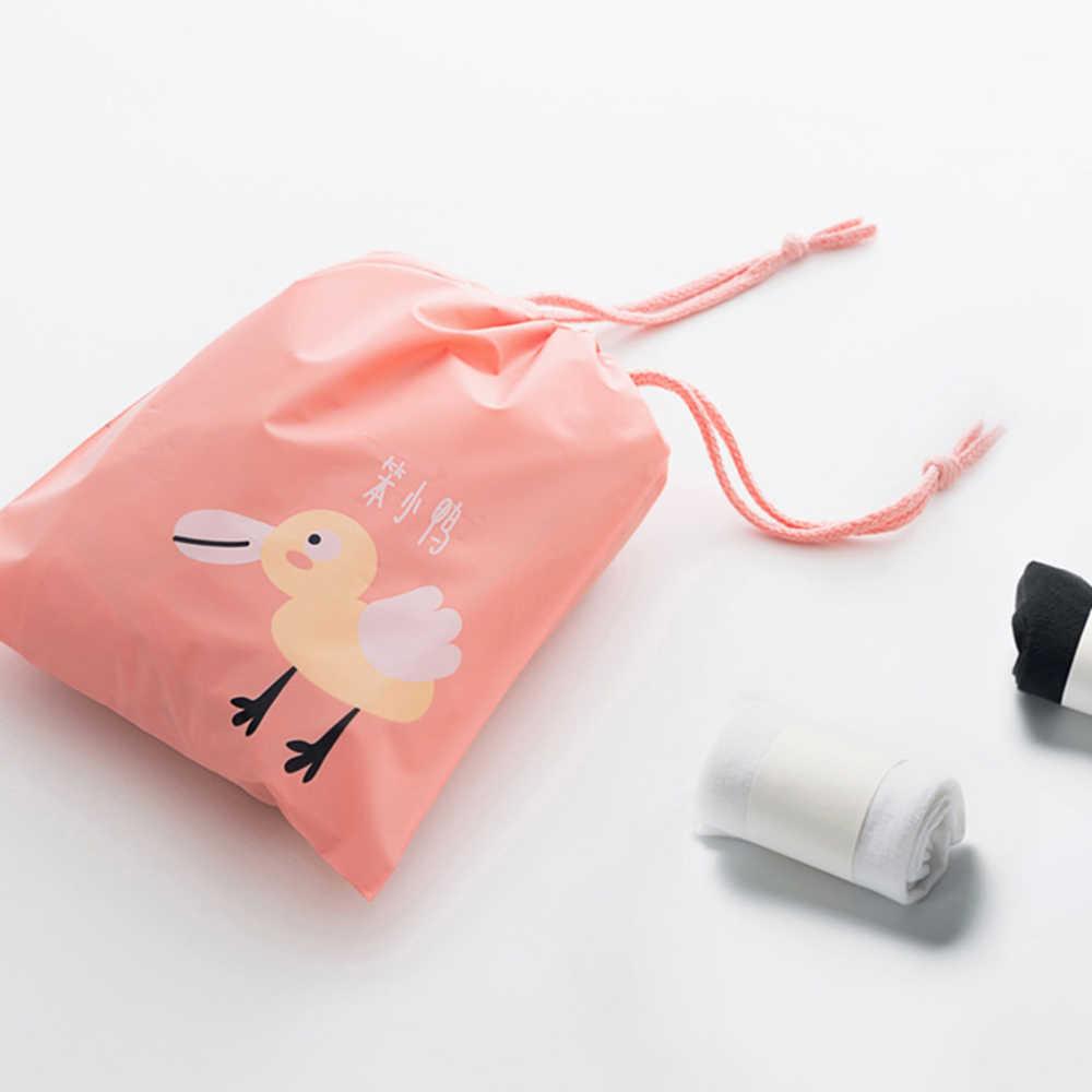 Sqinans 3 sztuk/zestaw wodoodporna Cartoon Animals drukowane torby do przechowywania ubrania zabawki organizator sznurek podróży torby na buty