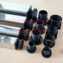 Almohadillas cuadradas de plástico ABS para inserción del tubo, almohadillas ajustables para los pies, en extremo de inserción del tubo, para cama, mesa de escritorio, 25, 30, 38, 40, 50 y 60