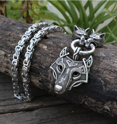 Men stainless steel necklace viking wolf head with Odin by Helena Rosova necklace pendan norse talisman ethnic jewelry 1