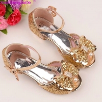 HaoChengJiaDe 2017 Children Princess Sandals Kids Girls Wedding Shoes High Heels Dress Shoes Party Shoe For