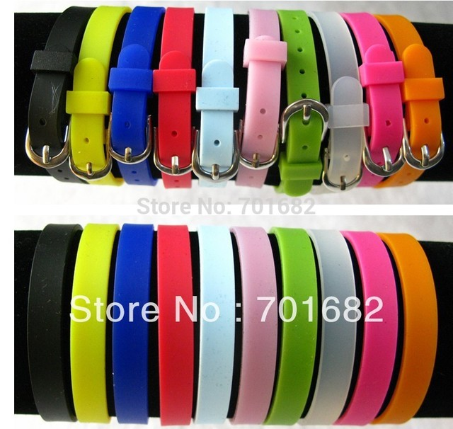 8mm 10pcs Rubber Wristband Bracelet DIY Accessories Fit 8mm slide letters and slide charms Free Shipping