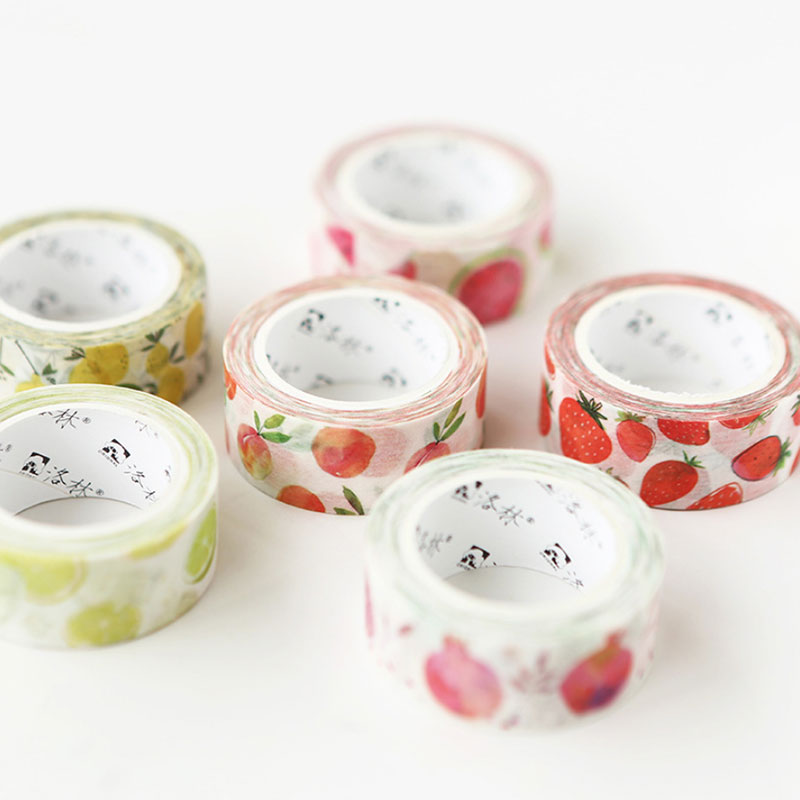 1 Pcs Hand-painted Watercolor Fruit Series 1.5 Cm X 7 M Washi Tape Children DIY Diary Decoration Masking Tape Stationery Tools