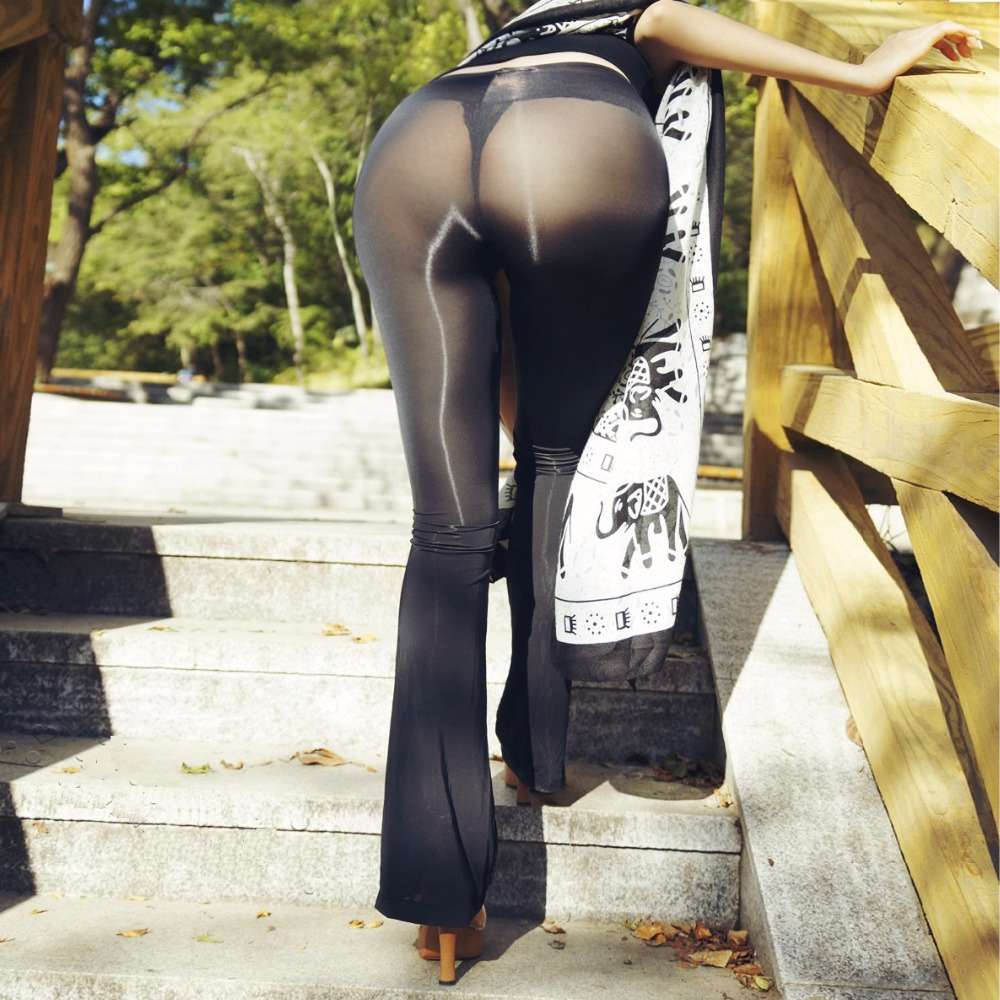 Free Shipping Sexy Flare Pants See Through Capris Women Pants & Capris Sheer Long Flare Causual Solid Black White Pants