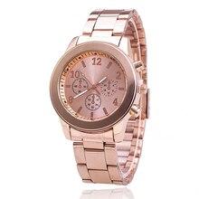 Vansvar marca manera de las mujeres vestido de oro rosa de acero inoxidable de cuarzo analógico reloj de pulsera de regalo bw1530