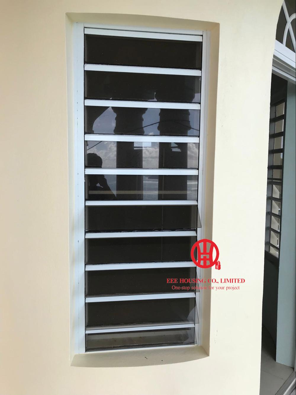 Aluminum Safe Glass Louvered Windows, Security Glass Louver Windows With Tempered Glass