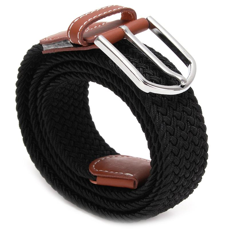 New Fashion Military Army Tactical Belt High Quality Men Elastic Knitted Belt Metal Buckle Waist Strap 6 Colors