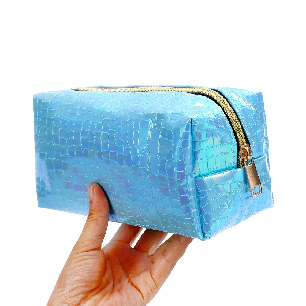 Hologram Leather makeup bag for women cosmetic case zipper portable toiletry storage women bag travel cosmetic wash bolsas
