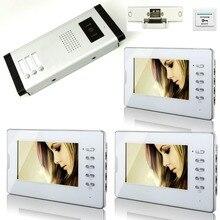 YobangSecurity 7 Inches Color Video Doorbell Door Chime,Rainproof Door Phone With Door Lock For 3 Units Villa Apartment Intercom