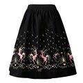 Candow mirada novedad pony imprimir diseños de moda las mujeres paraguas vintage columpio danza faldas de cintura elástica con bolsillos ocultos