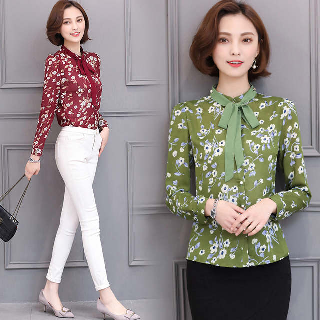 2e8eafe5ad4 Floral Print Blouse With Bow Tie Long Sleeve Chiffon Blouses Women Tops  Korean Fashion Clothing Nice