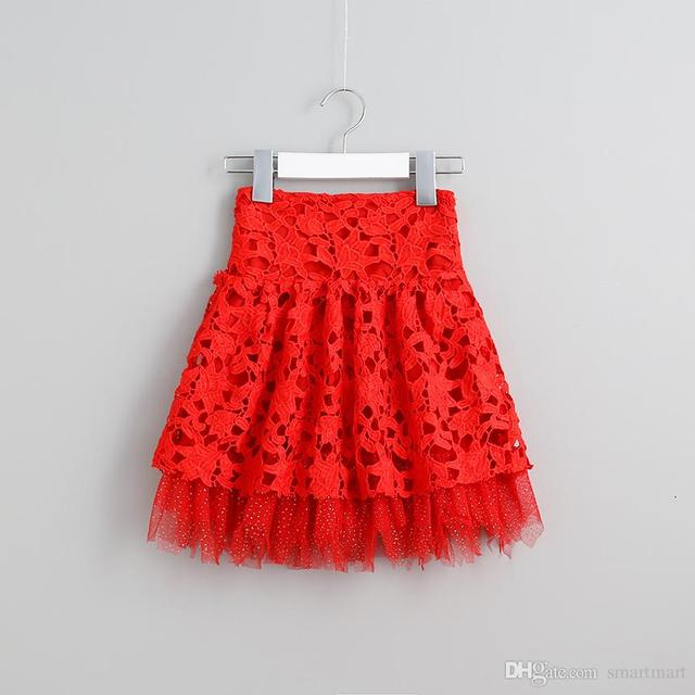 Christmas Kids Girls Tutu Lace Skirts Ruffles Western Vintage Red Party Skirts Princess Baby Girls Sweet Clothing Wholesale