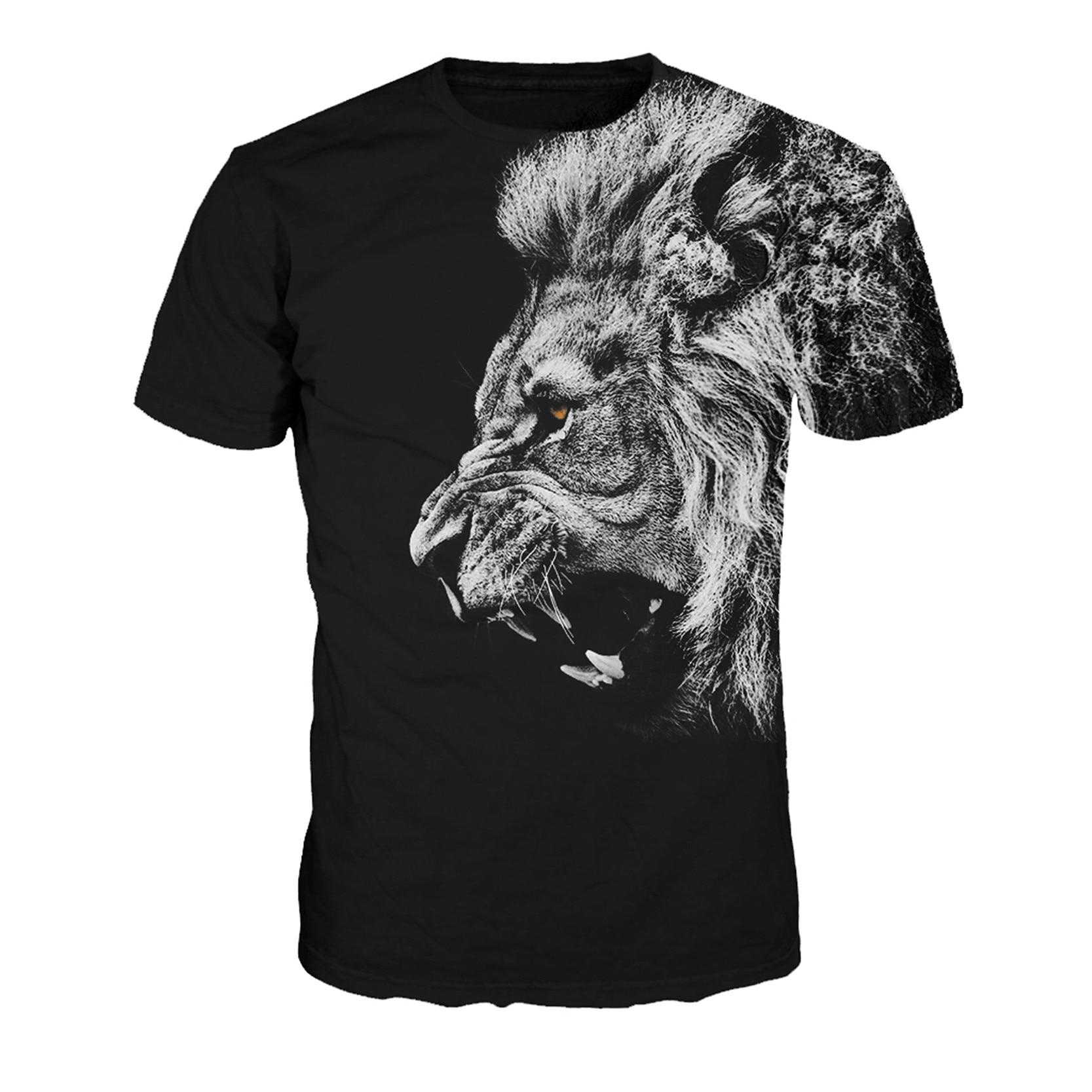 Free Shipping Cool Lion T Shirt Black T Shirts Men Hip Hop Tshirt O Neck Women