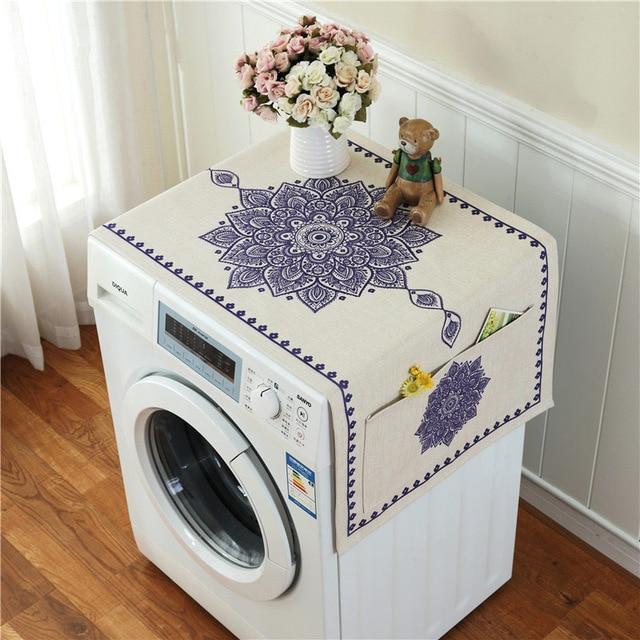 Ретро Европейский цветочный принт стиральная машина пылезащитный чехол для холодильника с карманом для хранения льняной ткани ремесло 1 шт./лот FC119 - Цвет: 9