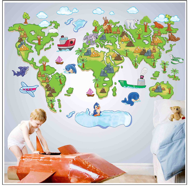 Large map of the world outline removable diy vinyl decals home large map of the world outline removable diy vinyl decals home decoration art mural for kids bedroom pvc wall stickers in wall stickers from home garden gumiabroncs Image collections