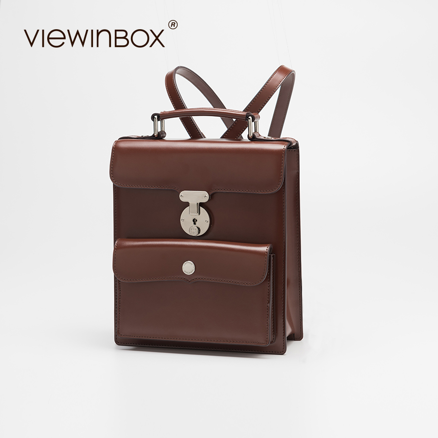 Viewinbox High Quality Brand Split Leather Back pack Fashion Original Design Women Brown Leather Backpack кастрюля с крышкой metrot краски лета
