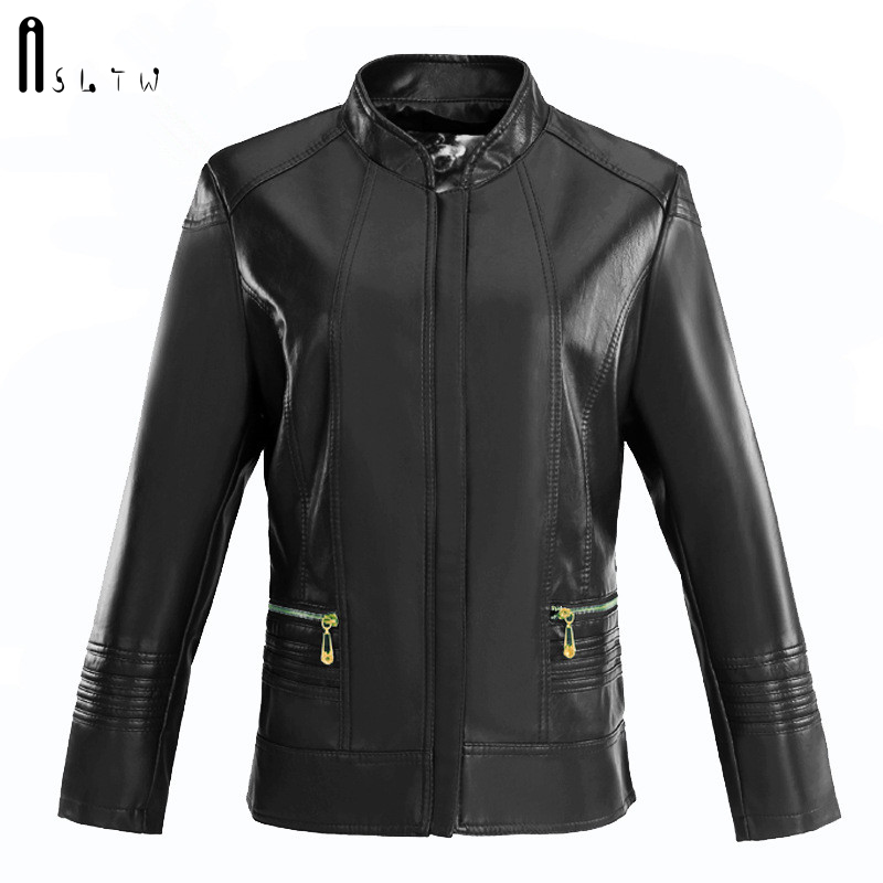 ASLTW   Leather   Jacket Woman New Arrivals Casual Plus Size Solid Zipper Female Jacket Long Sleeve Slim Women's PU   Leather   Jackets