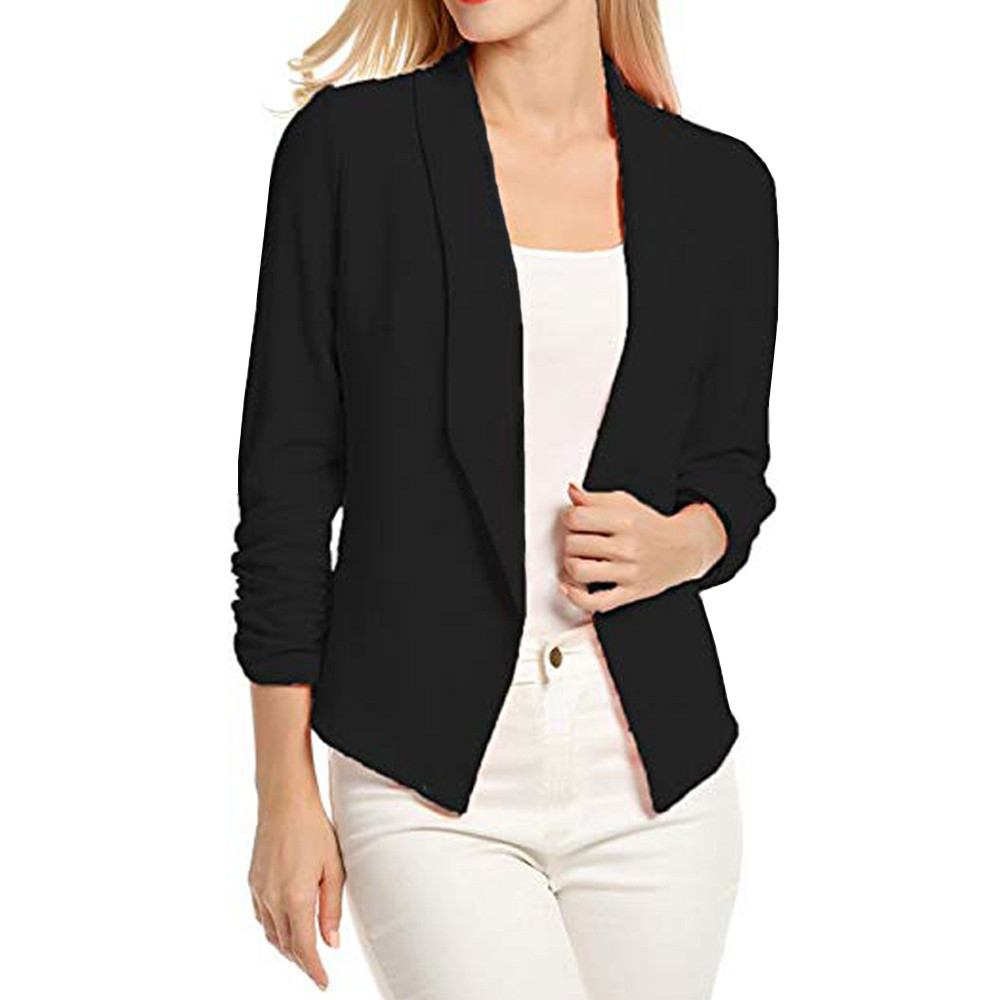 Autumn Jackets Womens 3/4 Sleeve Blazer Open Front Short Cardigan Suit Jacket Work Casual Ladies Office Coat W626