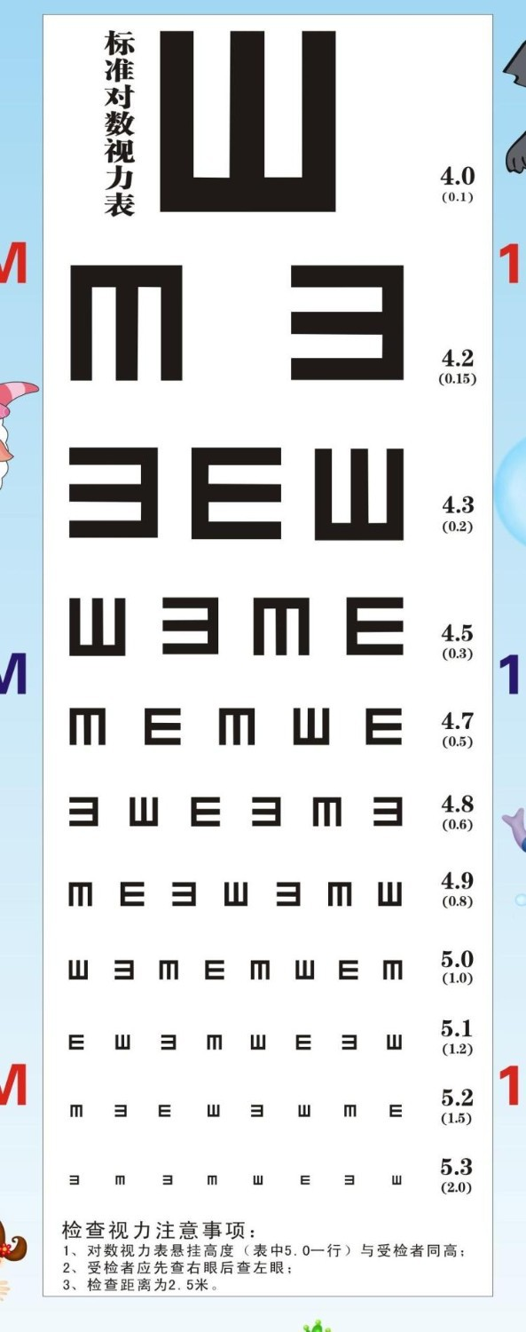 Visual Testing Chart Child Height Ruler Vision Test Card Eye Test