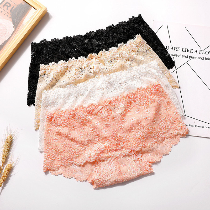 Shuchan Sexy Lace Women 39 s Briefs Transparent Lingerie Panties Female Low rise Underwear Women Boyshort ropa interior femenina in women 39 s panties from Underwear amp Sleepwears