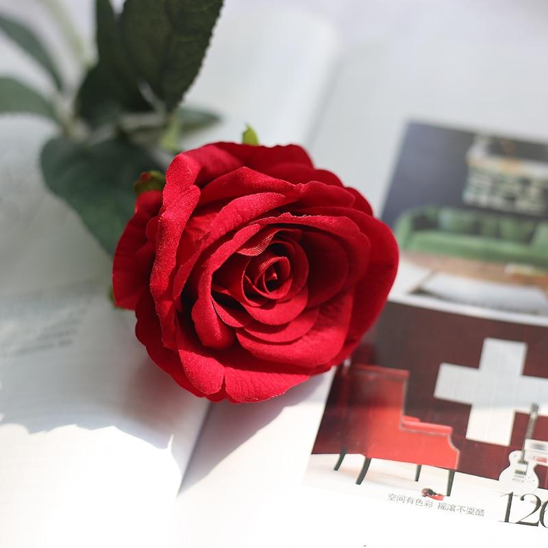 1 Kopf Samt Real Touch Künstliche Rote Rose Künstliche Blume Für Home Dekoration Rot Neue Jahr Maison Flores