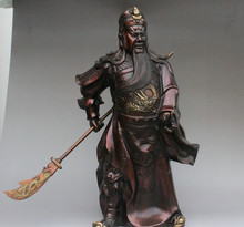 "SCY groothandel fabriek 20 ""China Pure Bronze Dragon Head Warrior GuanGong Guan Yu Godsstandbeeld Hold Zwaard(China)"
