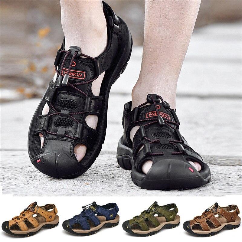 Hommes de Mode En Cuir Respirant chaussures de plage Diapositives babouches d'extérieur hiver sneakers pour hommes homme chaussons de bain pieds nus 01