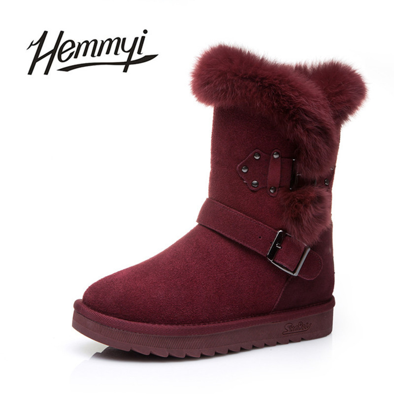 Hemmyi 2017 new winter boots woman shearling to keep warm snow boots genuine leather mid-calf boot for female bota feminina 2017 cow suede genuine leather female boots all season winter short plush to keep warm ankle boot solid snow boot bota feminina