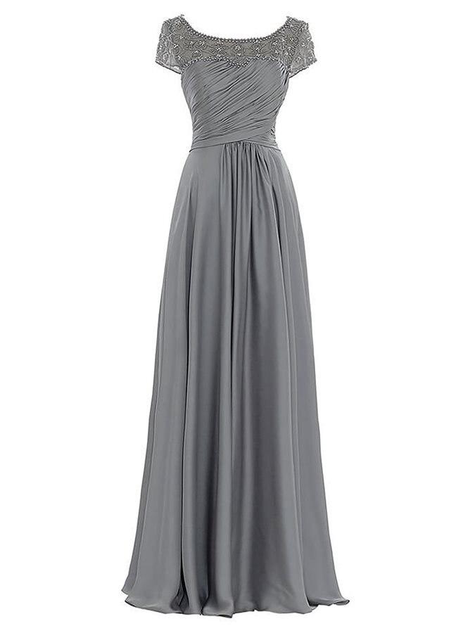 Nouvelle ligne élégante en mousseline de soie mère de la mariée robes à manches courtes en cristal longue longueur de plancher mariage sur mesure