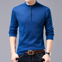 Men Half Turtleneck Sweaters Winter Velvet Warm Fashion Mock Neck Full Sleeve Mens Business Casual Pullover