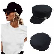 Модная черная шапка, Зимняя кепка шерстяная шапка, женская кепка на пуговицах, Повседневная Уличная одежда, плоская кепка, элегантная однотонная Осенняя шапка