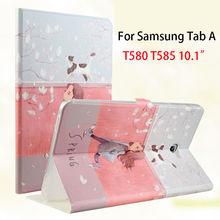 Pintado Caja De Cuero delgada Para Samsung Galaxy Tab Un A6 10.1 2016 T580 T585 T580N T585N Funda de la Cubierta de la Tableta Para Niños de dibujos animados de La Piel