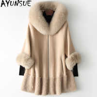 AYUNSUE 2019 Echt Pelzmantel Frauen Fuchs Pelz Kragen Lange Winter Jacke Koreanische Kleidung Wolle Pelz Mäntel und Jacken CHQ19-1901-C KJ2514