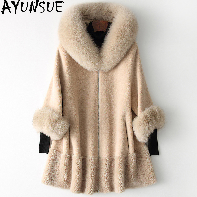 AYUNSUE 2019 Real Fur Coat Women Fox Fur Collar Long Winter Jacket Korean Clothes Wool Fur Coats And Jackets CHQ19-1901-C KJ2514