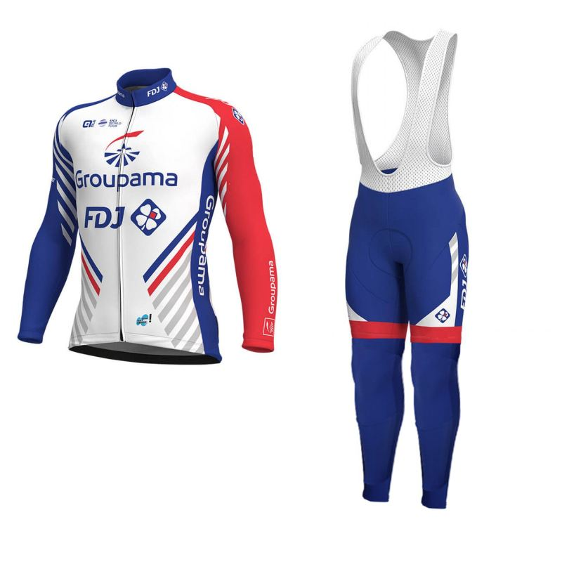 цена на 2018 spring long sleeve uci Pro team groupama FDJ cycling jersey sets breathable Ropa Ciclismo MTB quick dry bike clothing GEL