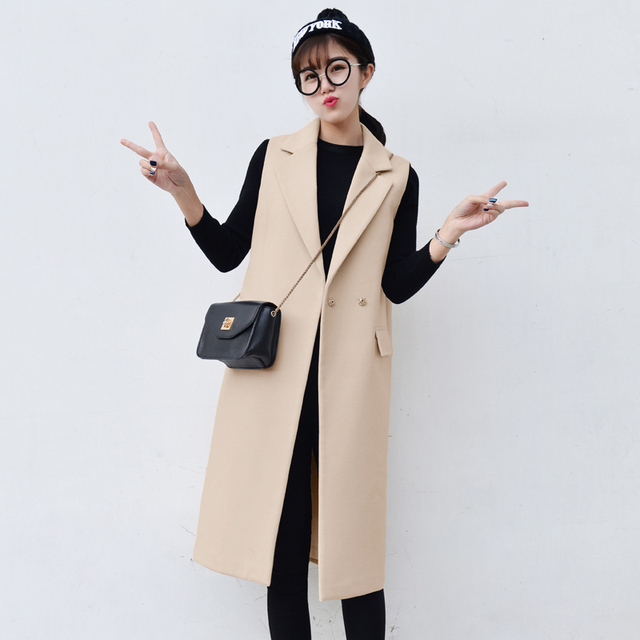 Fashion Women Brand Waistcoat 2016 New Autumn Winter Long Wool Coat OL Plus Size XS~XXL Slim Sleeveless Jacket Suit Vest LW350